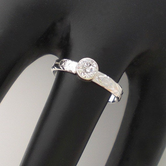 Handmade Sterling Silver Brilliant Clear CZ Ring Stack Patterned Band