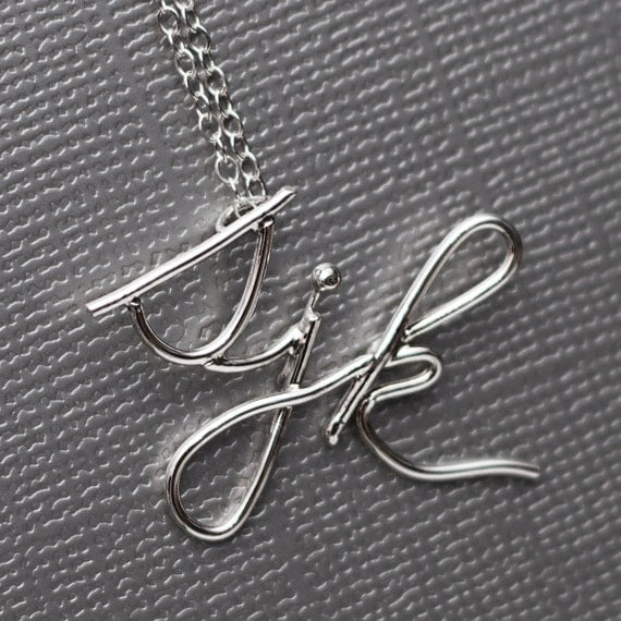 Handmade Custom Initials Signature Necklace Sterling Silver