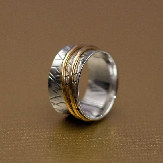 Textured Spinner Ring Sterling and 14KT Goldfilled