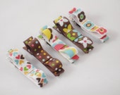 CHOCOLATE FUDGE CLASSIC CLIPS COLLECTION - Set of 5 No Slip Alligator Clips In A PUMPKIN PEA GIFT BOX