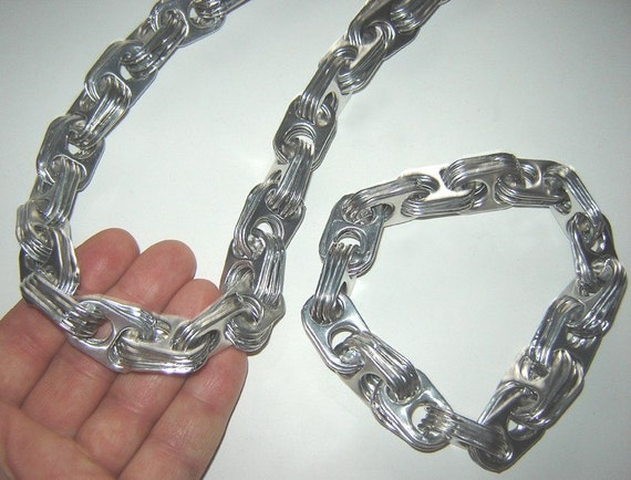 Long Necklace of Recycled Aluminum Silver Pull Tabs - Slide Over Head Style
