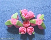 Hot Pink Triple Rose Flower Polyclay  Beads ( 4 ) 18mm