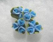 Blue Triple Rose Flower Polyclay  Beads ( 4 ) 18mm