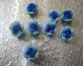 Blue Rose Flower Beads Fimo ( 8 ) 10mm Polymer Clay Flower Beads