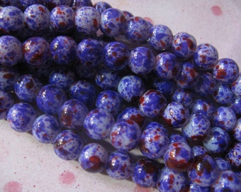 Marbled Purple Glass  Beads 8mm  30 Beads per lot