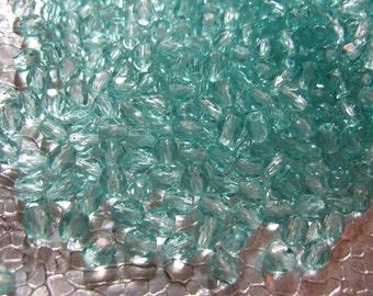 Czech Glass 4mm  Light Aqua Beads 100 Beads