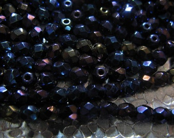 Czech Glass 4mm  Iris Blue Beads 50 Beads
