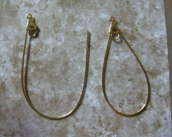 Tear Drop Gold Plated Earring Drop  Findings 3 pair