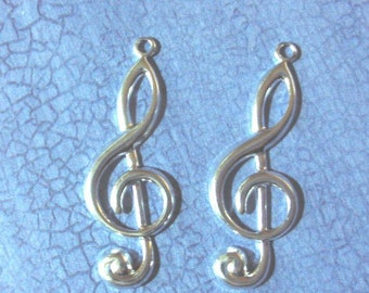 Treble Clef Silver Plated 5 pair Music Note Findings