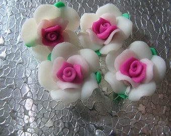 White Pink Hot Pink  Rose Flower Beads  ( 6 ) 20mm Fimo Polymer Clay Flower Beads