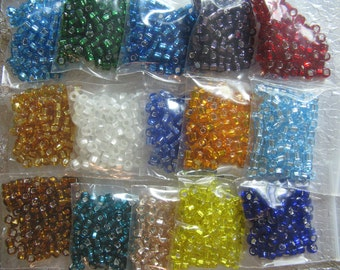 Seed Bead 6/0 Silver Lined 15 Color assortment pkg  750 Beads