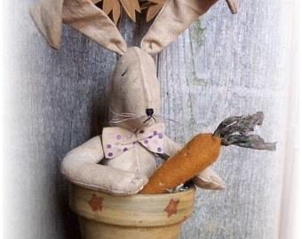 Potted Folk Art Rabbit E Pattern PDF Sewing Carrot Sunflowers
