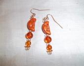 Orange Crescent Moon Earrings with Vintage Acrylic Beads OOAK