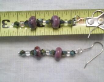 Healing Leaf Earrings Glass AB Ceramic