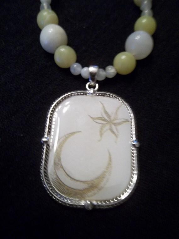 Serious Moon Light  Jade Necklace OOAK