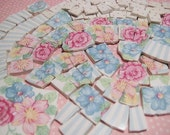 SHaBBY-LiCiOUS PINK RoSeS anD STRiPES CHiNA MoSAiC TiLES
