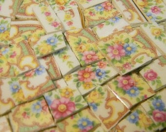 Mosaic Tiles - OUR FaVORiTE OLD FLoRAL - 100 China Mosaic Tiles
