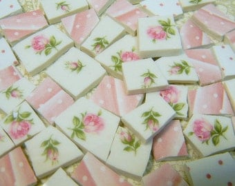 China Mosaic Tiles - SHaBBY CoTTaGE CHiC PiNK RoSeS - 120 Vintage Plate Tiles