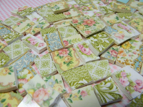 Broken China Mosaic Tiles - YuMMY CoTTaGE CHiC CoLLeCTiON of 150 ViNTaGE TiLES - Repurposed Plates