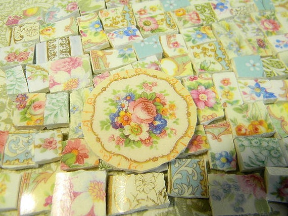 Broken China Mosaic Tiles - CoTTaGE CHiC CoLLeCTiON over 270 MiNi TiLeS- Repurposed China Plates