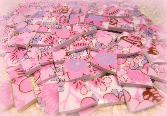 China Mosiac Tiles HOT PiNK FLoWeR PoWeR Broken Plate Tiles