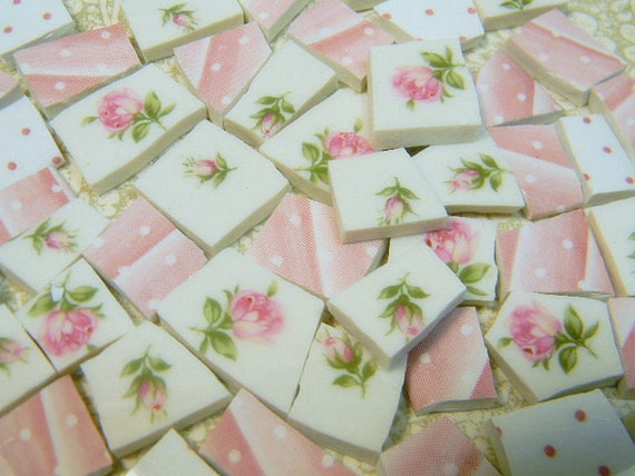 China Mosaic Tiles - SHaBBY CoTTaGE CHiC PiNK RoSeS - Vintage Plates
