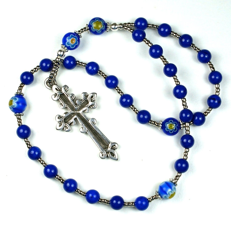 Cobalt Blue Anglican Rosary Prayer Beads