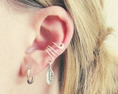 Feather Charm Cartilage Non Pierced Wire Ear Cuff - Choose Your Color