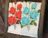 Pair of Vintage Tea Towels Bright Coral and Turquoise Roses