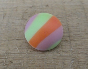 Pink Orange Green Striped Vintage Glass Button 11/16 in.