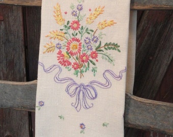 Wildflower Bouquet with Purple Ribbon Embroidered Vintage Fingertip Towel