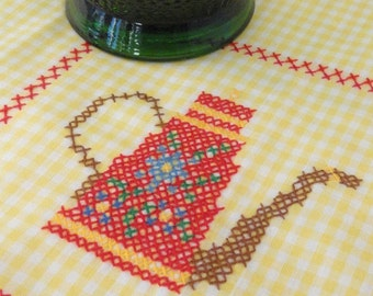 Embroidered Teapot on Yellow Gingham Vintage Table Scarf or Tea Towel
