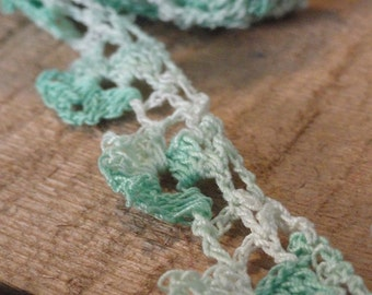 Mint Green Variegated Vintage Crocheted Lace Trim Over 2 Yards