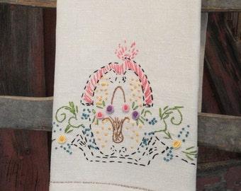 Extra Large Vintage Fingertip Towel Guest Towel Natural Linen Embroidered Basket of Flowers