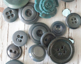 Mismatched set of 16 Forest Green Vintage Buttons