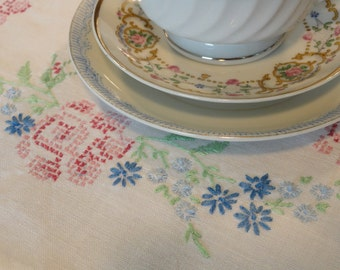 Pink Roses and Tiny Blue Flowers Vintage Table Runner