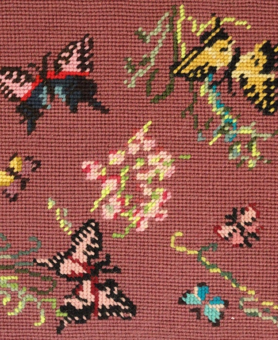 Butterflies and Flowers Vintage Needlepoint Piece