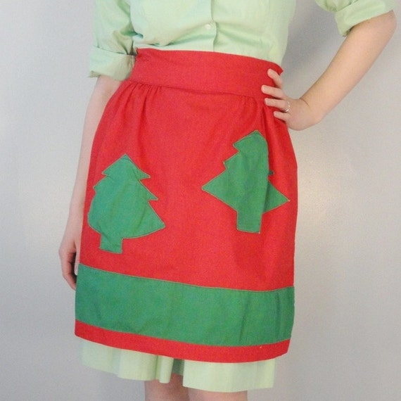 Red Vintage Apron with Green Christmas Tree Appliques