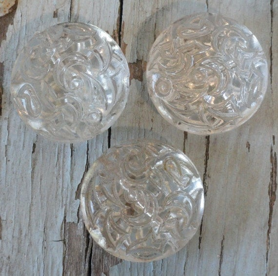 Set of 3 Clear Deeply Etched Vintage Glass Beads