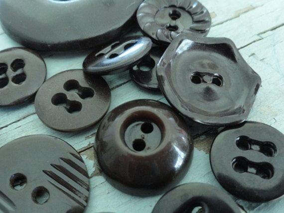Lot of 14 Assorted Dark Brown Vintage Buttons