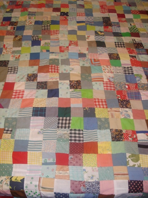 Bright Squares Unfinished Vintage Quilt Top No. 1