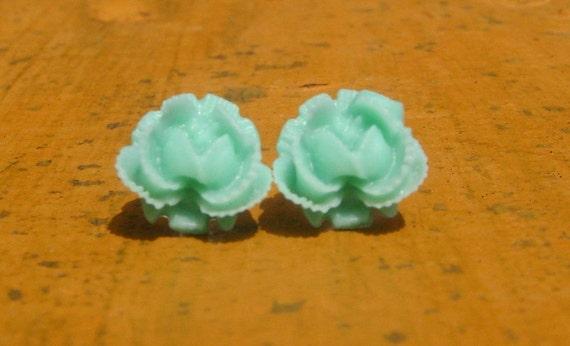 Aquamarine Blooming Rose 10mm Resin Stud Earrings PIF