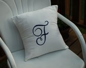 Monogrammed Machine Embroidered Pillow Cover