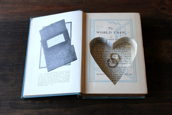 VALENTINE'S DAY book safe - hollow book with heart shaped carving - ''the world i saw''