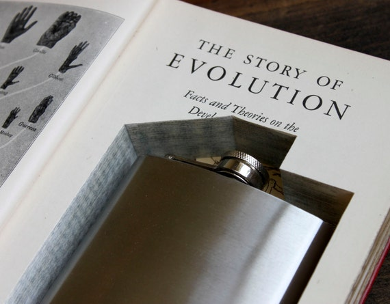 hollow book flask safe ''the story of evolution'' (flask included) - perfect for father's day or grad present - flask hidden in old book