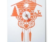 Wall Clock - Cuckoo Clock - Orange - Wood Panel