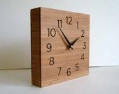 Modern clock, wooden box, wall or desktop clock, simple design, square clock