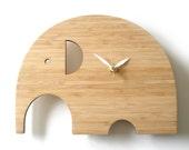 Modern Animal Clock - Elephant No Numbers