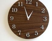 """11"""" Modern Wall Clock - Standard - Walnut finish"""