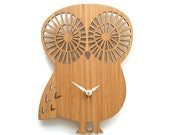 Modern animal wall clock owl without numbers